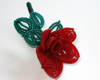 SALE: French-beaded SWEETHEART ROSE red flower pin brooch
