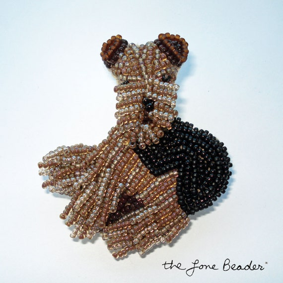 AIREDALE TERRIER dog beaded art pin/ pendant w/ cord (Ready to ship)