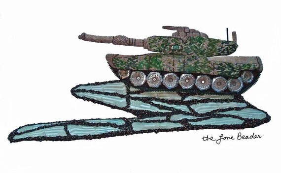 M1 ABRAMS beaded art replica military tank camo bead embroidery (Ready to ship)