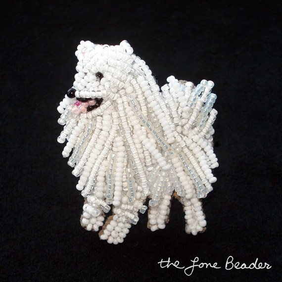 Beaded ESKIE American Eskimo dog pin pendant art jewelry brooch (Made to Order) Free US Shipping
