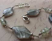 Gray Quartz and Prehnite Bracelet