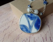 SALE - Pottery Shard Necklace with Kyanite and White Crackle Agate
