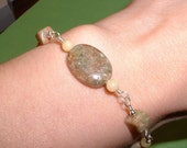 Agate and Yellow Jade Bracelet