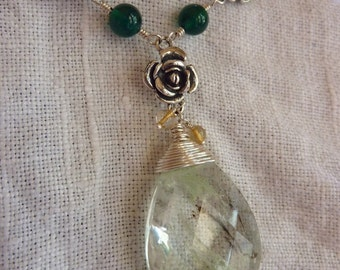 An Irish Rose Necklace of Quartz and Silver