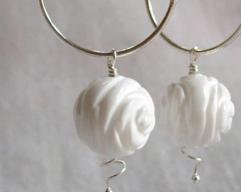 White Jade Roses on Silver Hoops