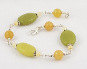 Green Agate and Yellow Jade Bracelet