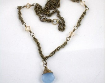 Pale Blue Chalcedony and Crystal on Brass Chain