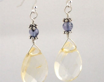 Citrine and Iolite Earrings