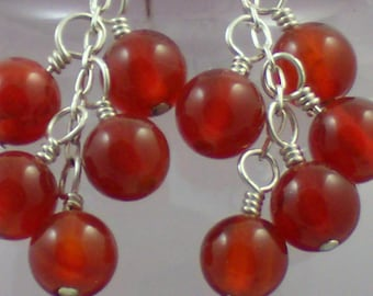 Deep Orange Carnelian Cluster Earrings
