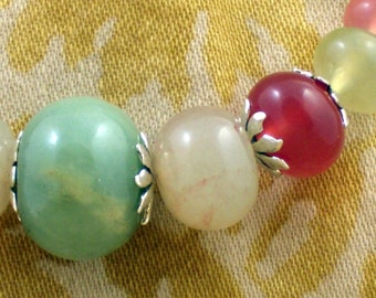 Juicy Necklace in Shades of Green and Berry