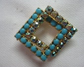 Woven Colorful Squares - brooch
