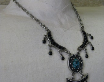 Silver Black Turquoise - necklace