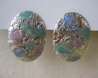 Silver and Pastel Flower - earrings