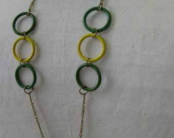Rings of Green and Yellow - necklace