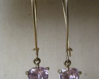 Pink Dangle Heart Twinkle - earrings