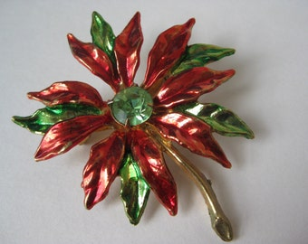Poinsettia with Bling - brooch