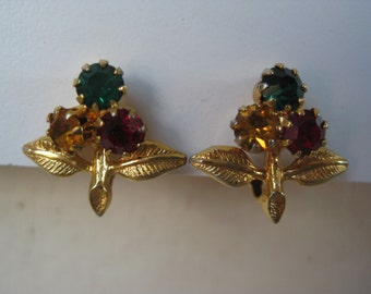 Tri Color Flower - earrings