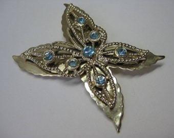 Gold and  Blue Twinkle Butterfly - brooch