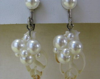 Pearl Cluster Shell Dangle - earrings