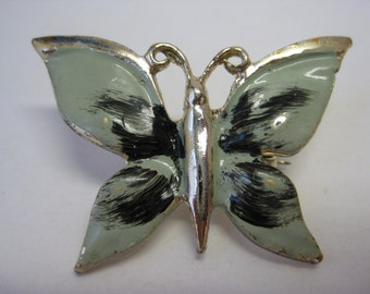 Light Green and Black Butterfly - brooch