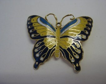 Yelllow and Blue Butterfly - brooch