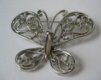 Cool Silver Butterfly - brooch