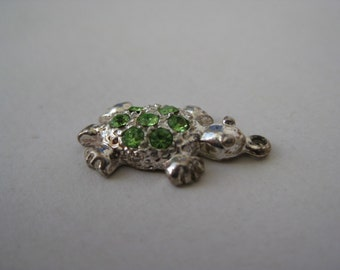 Silver Green Sparkle Turtle - charm