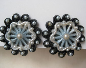 Pearly Blue and Black Flower - earrings