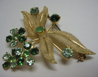 Gold and Green Flower Sparkle - brooch