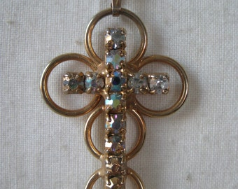 Cross Aurora Borealis gold necklace