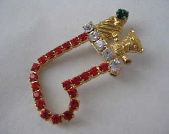 Christmas Stocking with Golden Bear - vintage brooch