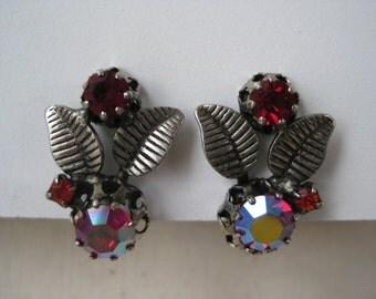 Red Aurora Floral - vintage earrings