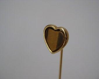 Heart Tiger Eye Stick Pin Gold Vintage