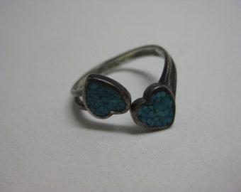 Two Blue Heart - vintage ring - size adjustable