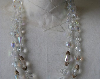 Two Strand AB Crystal - vintage necklace
