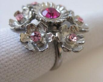Pink Glitter Floral Cluster - vintage ring - adjustable