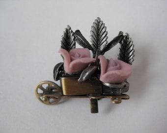 Wheelbarrow Full of Roses - vintage pin
