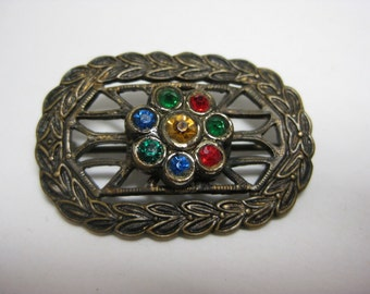 Brass and Color - vintage brooch
