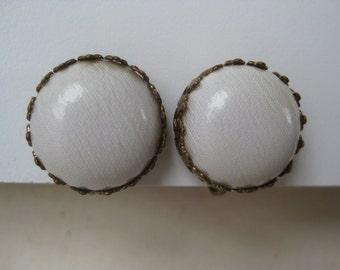 Gold around White - vintage earrings