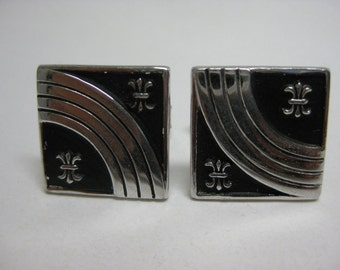 Silver and Black - vintage cuff links