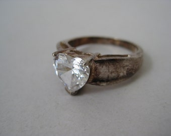 Heart Ring Sterling Silver Vintage CZ Size 9 1/4 925