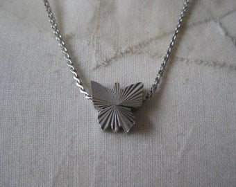 Silver Little Butterfly - vintage necklace