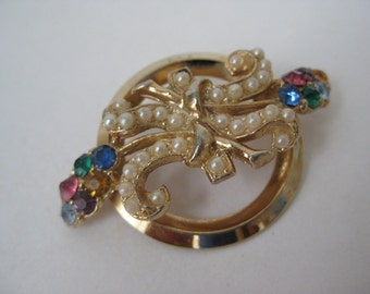 Colorful Pearly Flowers in the Round - vintage brooch
