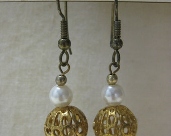 Gold Filigree Sphere Dangle - vintage earrings