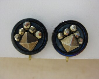 Blue Iredescent - vintage earrings