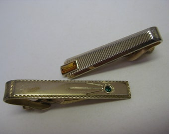Gold Green Gold Amber Twinkle - vintage tie clip