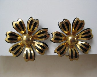 Gold with Black Flower - vintage earrings