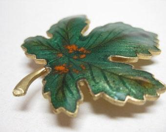 Leaf Brooch Green Enamel Maple Gold