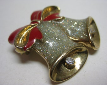 Bells Brooch Gold Silver Red Bow Avon