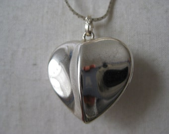 Sterling Silver Heart Necklace 925 Modern Pendant Italy Puffy